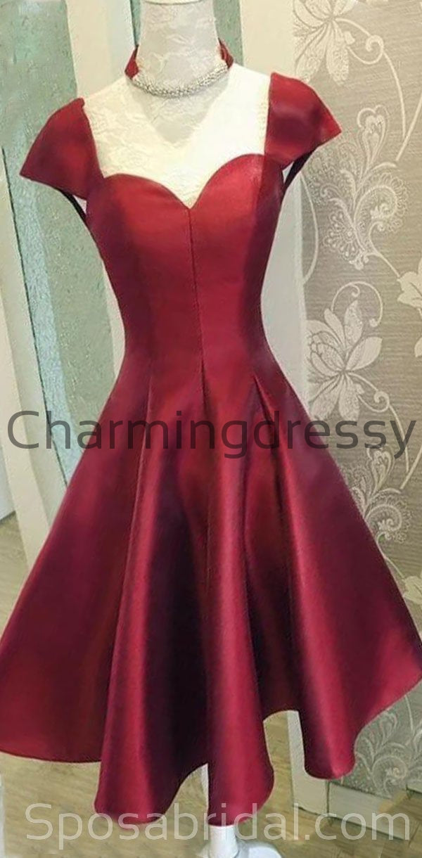 Red Cap Sleeves Uniqe Modest Lace up back Inexpensive Short Homecoming Dresses, BD0405