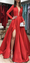 Red Formal  Fashion Long Sleeves Satin Prom Dresses, Leg Slit Evening Gown,PD1019