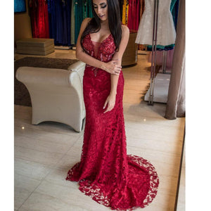 Red Lace Mermaid Modest Elegant Formal Custom Hot Sale Prom Dresses, PD1069