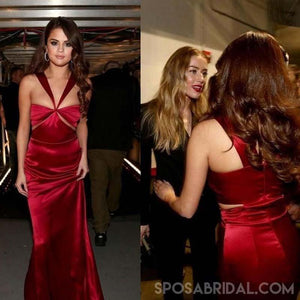 Red Long Sheath Soft Satin Unique Dsign Selena Gomez Inspired Prom Dresses , PD1173