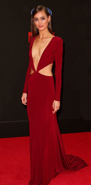 Red Long Sleeves Mermaid Modern Cheap Simple Soft  Deep V-Neck Prom Dresses online , PD1070