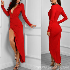 Red Long Sleeves Unique Design Modest Cheap Long  Simple Formal Prom Dresses, evening dresses, PD1174