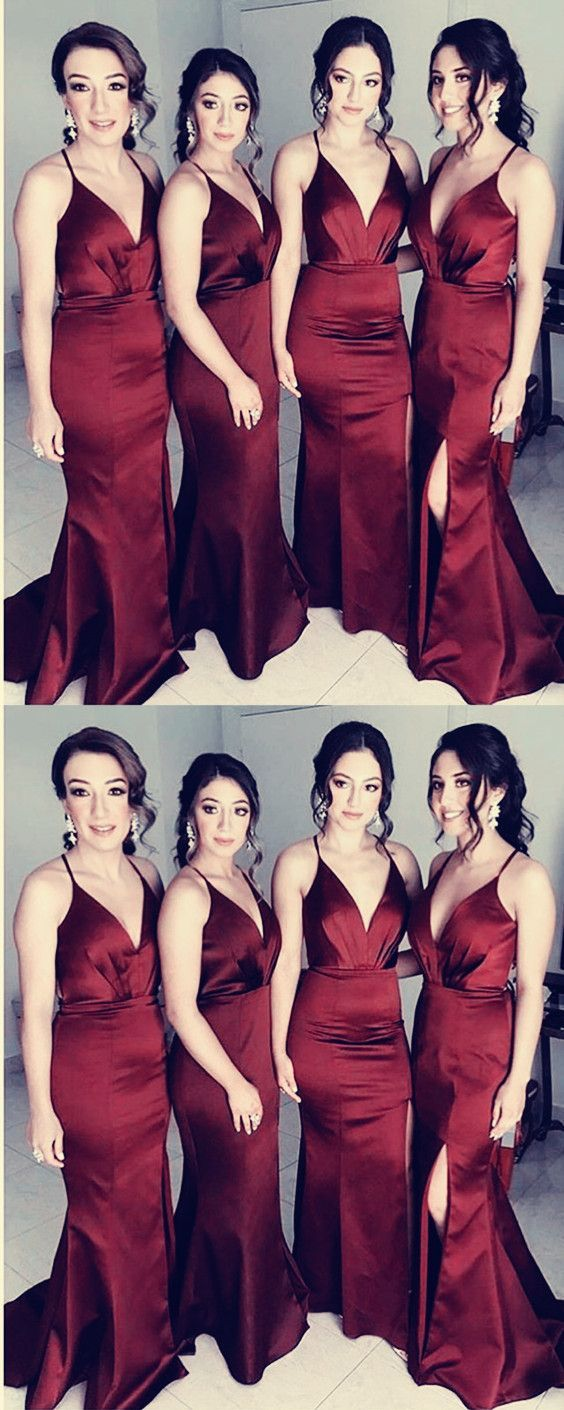 Red Long Spaghtti Straps Simple Sexy CheaP Side Split Bridesmaid Dresses, Prom dress,WG364