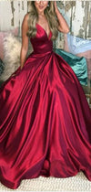 Red Modest Sexy Spaghetti Straps V-neck Floor Length Satin Prom Dresses 2019 , PD0977