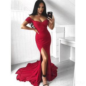 Red Sexy Elegant Formal Cheap SImple Off Shoulder Long Mermaid Side Slit Jersey Prom Dresses, PD1175