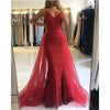 Red Spaghetti Straps Lace Mermaid Lace Prom Gown ,Prom Dresses with Detachable Train For Women , PD1072