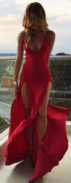 Red V-Neck Both Split Sex Cheap Long Beautiful Prom Dresses,Evening Dress, PD0999