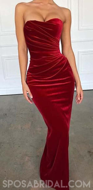 Red Velvet Long Mermaid Simple Unique Design Custom Affordable Prom Dresses, Party Dress ,PD1176