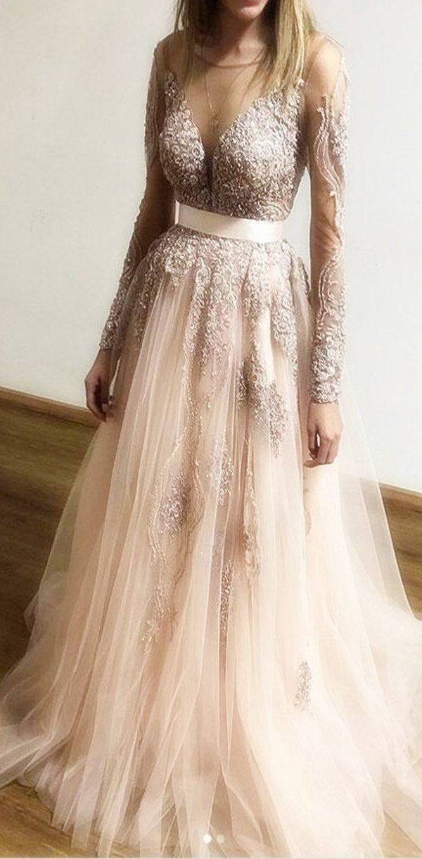 Round Neck  Lace Long Sleeves Tulle Discount Proim Dresses, party dress, evening dress, PD0916