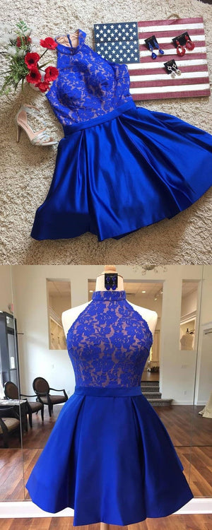 Royal Blue Halter Cheap Short Homecoming Dresses Online, CM530