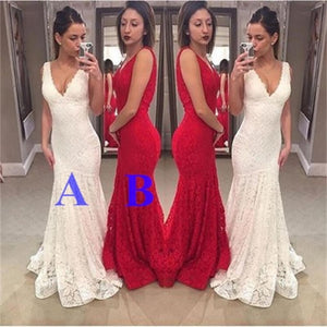 Long Mermaid V-Neck Lace Sexy Free Custom  Sleeveless Prom Dress , Party Dress , PD221