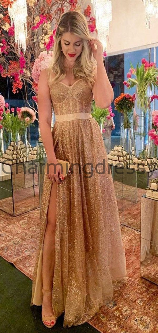 Sequin Sparkly Side Slit Modest Long Prom Dresses PD2235