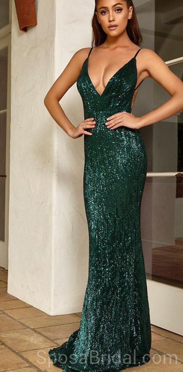 d69d5ef63e0c Sequin Sparkly Mermaid Sexy Stunning Spaghetti Straps Elegant Popular Long  Prom Dresses, PD1216