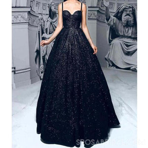 Sequin Sparkly Shinning Black A-Line  Elegant Formal Prom Dresses, Long Pretty Prom Gown, PD1177