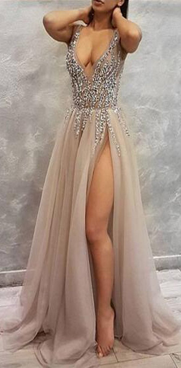 adefb02e35 Sequin Sparkly V-Neck A-Line Tulle Side Slit Modest Elegant Prom Dresses,