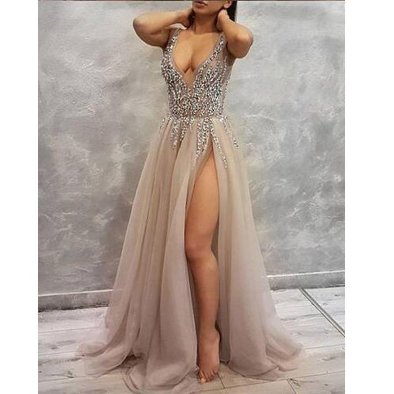 Sequin Sparkly V-Neck A-Line Tulle Side Slit Modest  Elegant Prom Dresses,PD1206