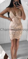 Sexy Unique Spaghetti Straps Lace Mermaid Short Homecoming Dresses BD0443