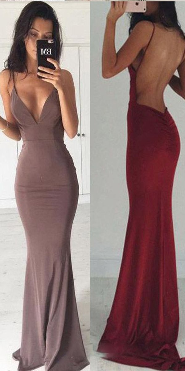12c69e6603 Sexy Backless Floor Length MermaidSexy V Neck Party Prom Dresses ...