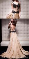 Sexy Chiffon V-neck A-line Lace Formal Elegant Free Custom Made Prom Dresses, PD1179