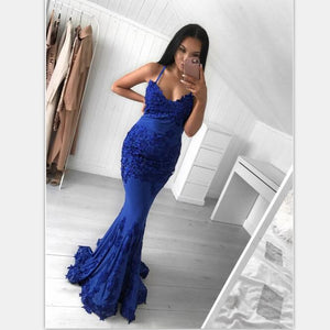 Sexy Lace Appliques Mermaid Spaghetti Straps Royal Blue Prom Dresses  , PD0871