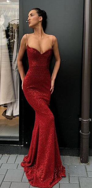 Sexy Spaghetti Straps Cheap Dark Red Sequins Long Prom Dresses,Mermaid Evening Party Dress, PD0978