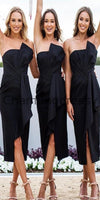 Sheath Strapless Black Satin Bridesmaid Dresses with Ruffles Split WG725