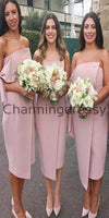 Sheath Strapless Knee Length Blush Pink Satin Bridesmaid Dresses WG725
