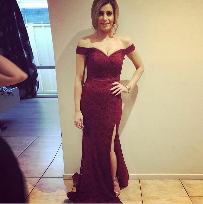 Off Shoulder Burgundy Full Lace Sexy Long Mermaid Modest Unique Sexy Bridesmaid Dresses with Split, WG280