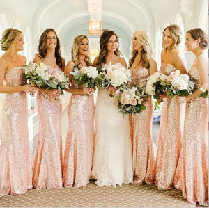 Shining Sparkly Popular New Mermaid Sweetheart Strapless Long Rose Gold Sequin Bridesmaid Dresses, WG279