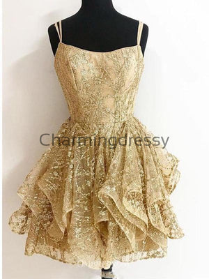 Short Gold Lace Unique Popular Homecoming Dresses BD0444