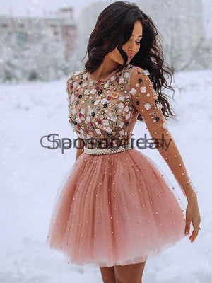 Short Pink Long Sleeves Beaded Unique Popular Homecoming Dresses BD0446