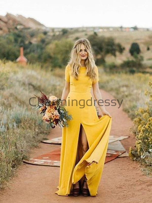 Short Sleeves Yellow Long Simple Wedding Dresses, Elegant Bridesmaid Dresses WD0461