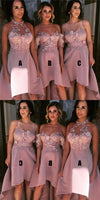 Short Blush Pink Mismatched Bridesmaid Dresses, New Arrival High-Low Bridesmaid Dress,  PD0334