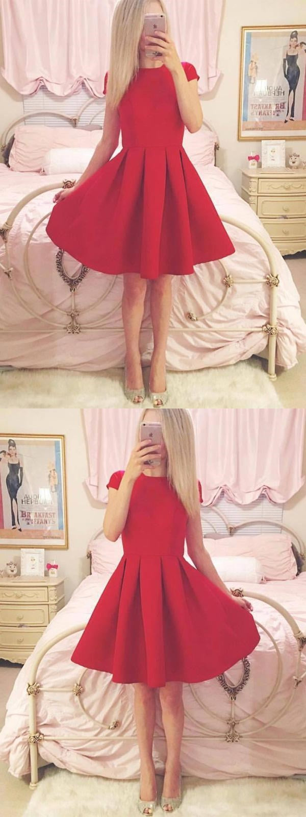 Short Sleeves Simple Cheap Short Red Homecoming Dresses Online, CM534