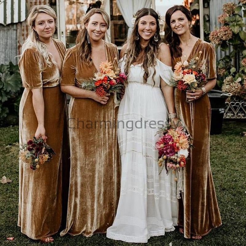 Short Sleeves Soft Elegant Simple Unique Long Bridesmaid Dresses  WG667