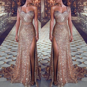 Shoulder Long Side Split Sparkly Gorgeous Prom Dresses, party queen dress,PD1052