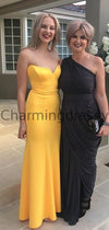 Simple Cheap Yellow Mermaid Modest Prom Dresses PD2241
