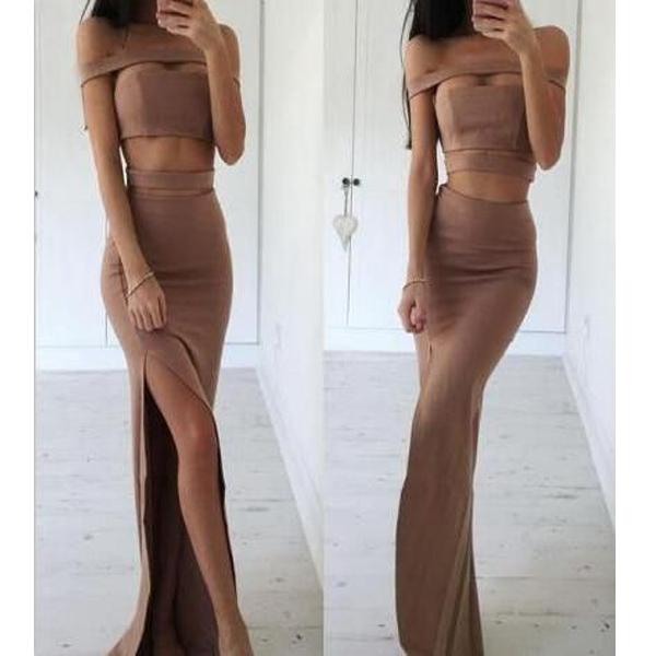 Simple Brown Two Piece Sheath Prom Dress - Off the Shoulder Split Floor Length, PD1041