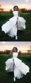 Simple Chic A-line Long Cheap Sleeveless Elegant Long Country Beach Wedding Dresses,WD0305