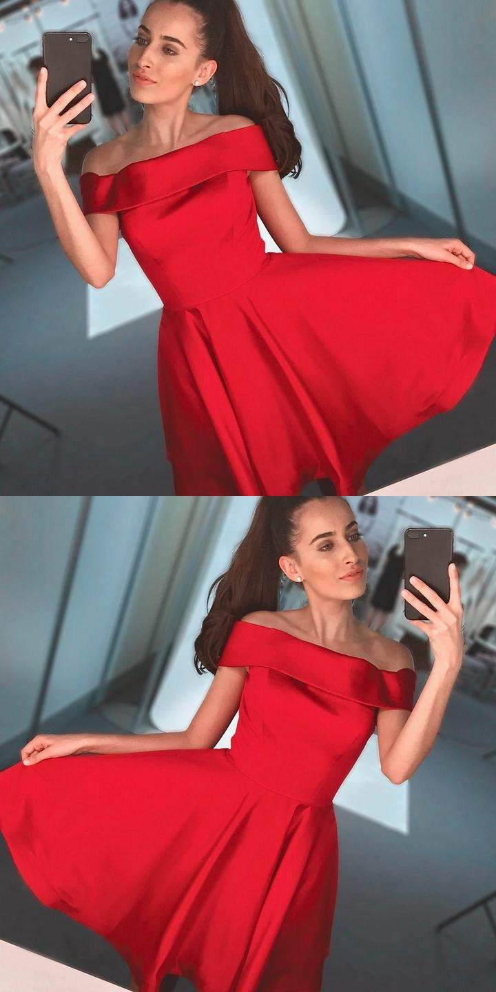 Simple Red Off Shoulder Cheap Short Homecoming Dresses 2018, CM526