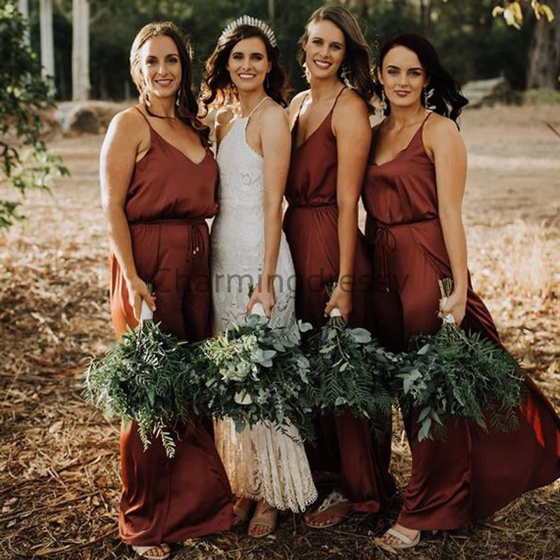 Simple Spaghetti Straps Cheap Burnt Orange Bridesmaid Dresses WG668