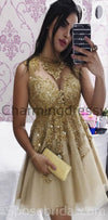 Sleeveless Pretty Popular Gold Tulle Short Mini Homecoming Dresses with Applique, BD0404