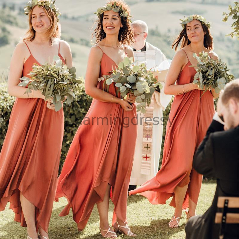 Spagetti Straps Simple Cheap Unique Deisgn Popular Bridesmaid Dresses WG669