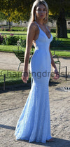 Spaghetti Straps Blue Lace Mermaid Elegant Formal Prom Dresses PD2239