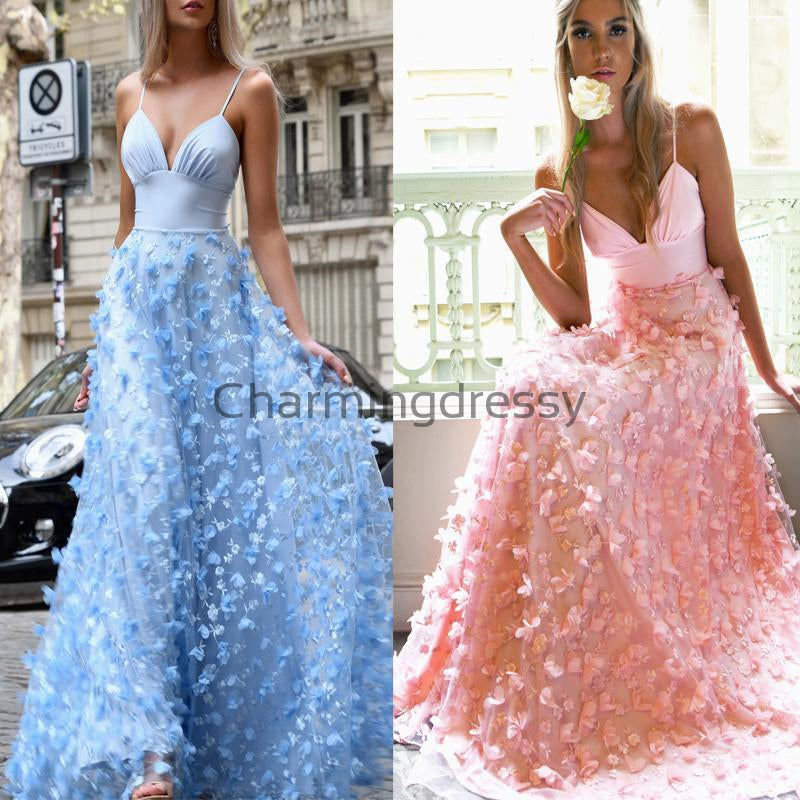 Spaghetti Straps Blue Pink Unique A-line Formal Prom Dresses PD2237