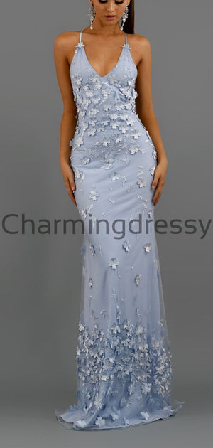 Spaghetti Straps Blue Pink Unique Mermaid Formal Prom Dresses PD2238