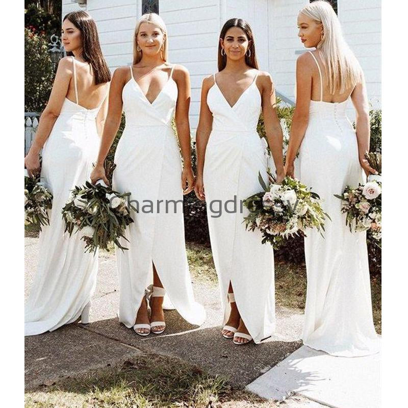Spaghetti Straps Mermaid Simple Cheap Long Bridesmaid Dresses WG729