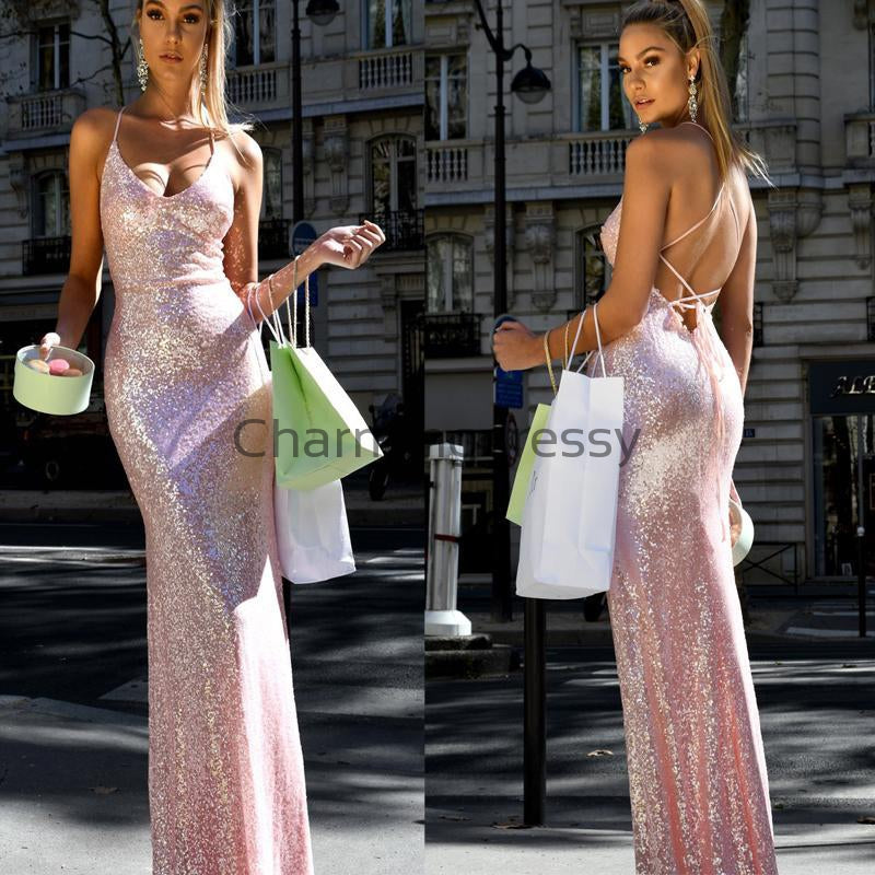 Spaghetti Straps Pink Sequin Mermaid Backless Long Modest Prom Dresses PD2243