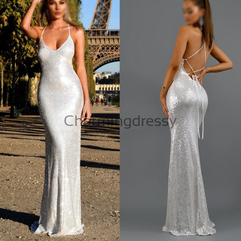 Spaghetti Straps Silver Mermaid Backless Long Modest Prom Dresses PD2244