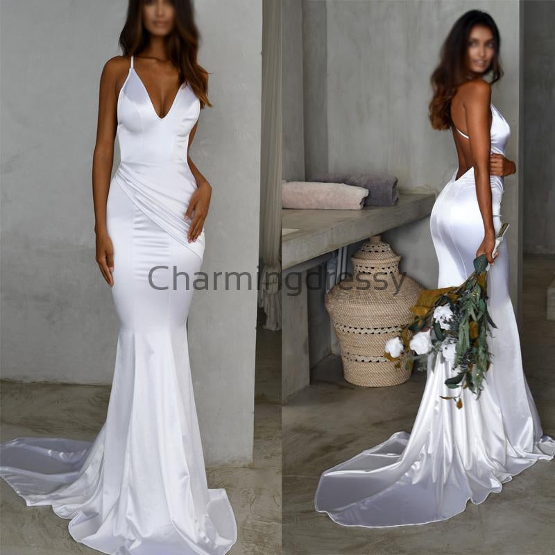 Spaghetti Straps V-Neck Cheap Mermaid Modest Prom Dresses PD2248